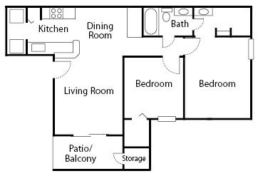 805 sq. ft. Poplar floor plan