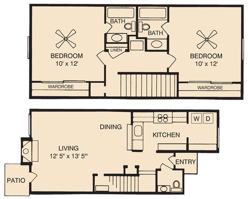 1,135 sq. ft. Llanite floor plan