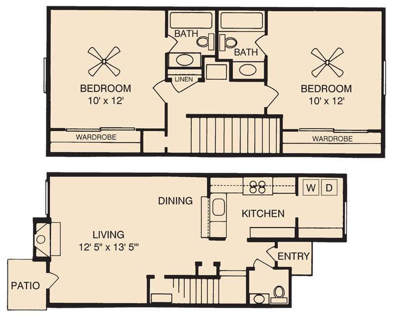 1,135 sq. ft. Llanite floor plan