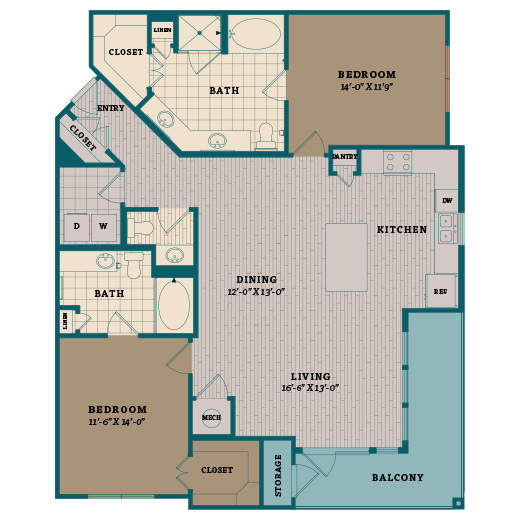 1,425 sq. ft. D1 floor plan