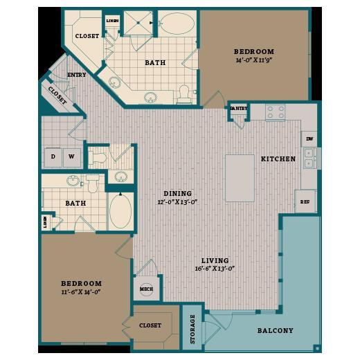 1,425 sq. ft. D1 floor plan