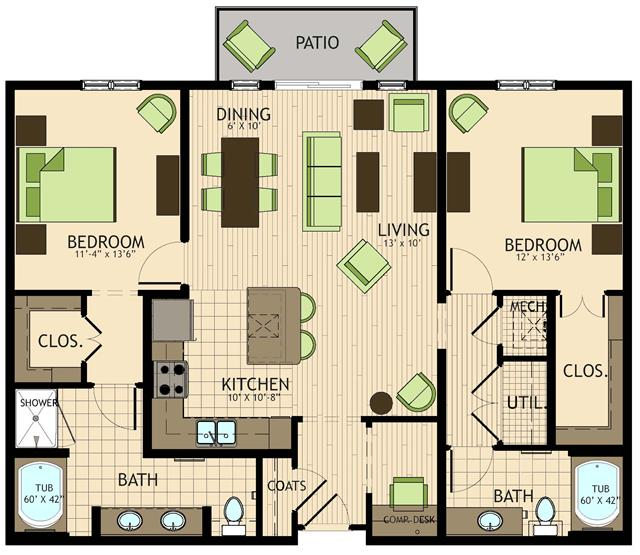 1,274 sq. ft. to 1,313 sq. ft. Picasso floor plan
