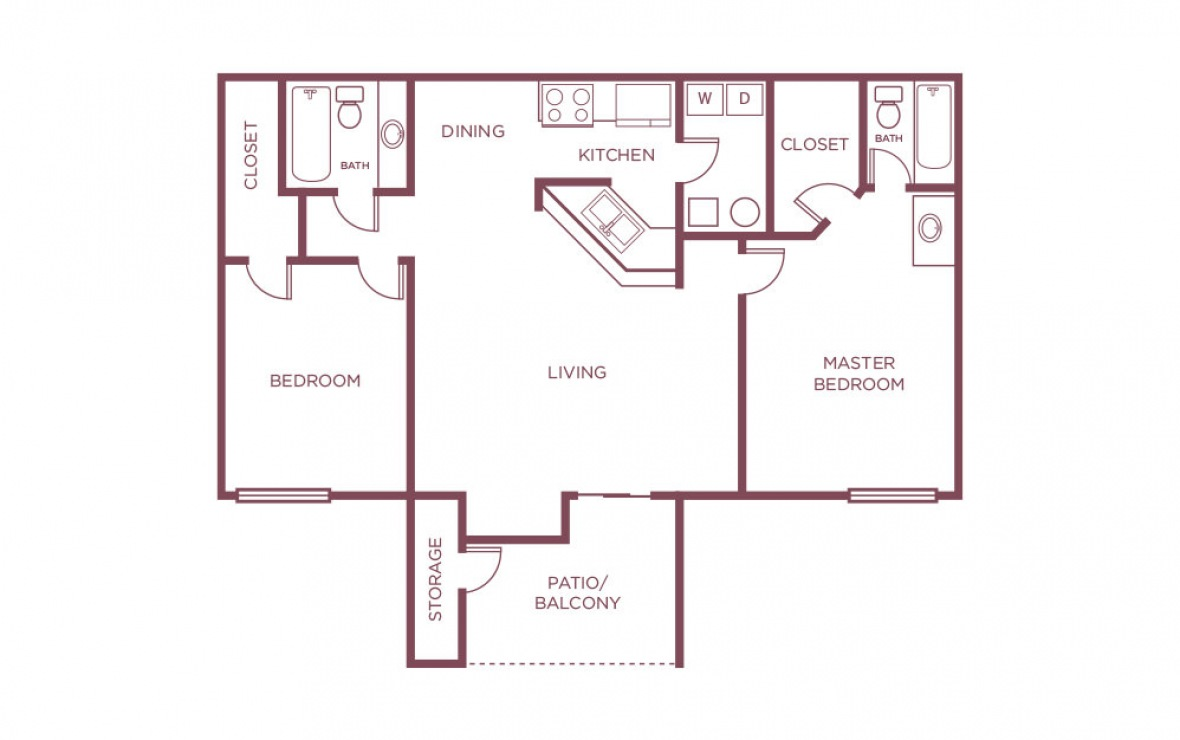 1,103 sq. ft. D floor plan