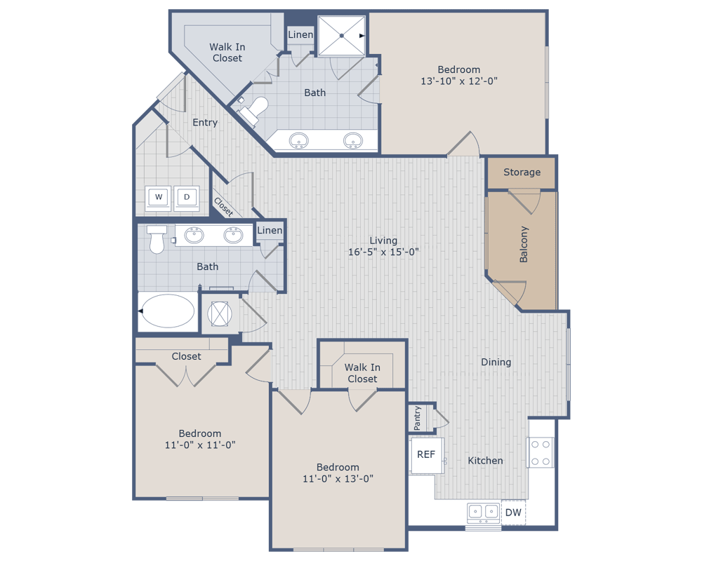 1,424 sq. ft. D1 floor plan