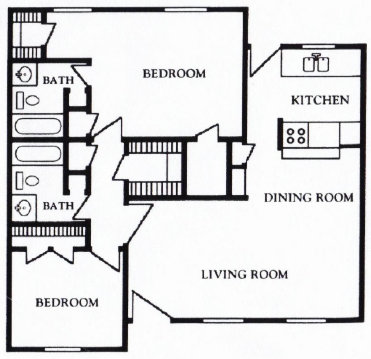 1,180 sq. ft. E floor plan