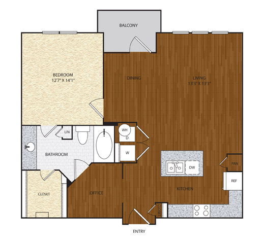 911 sq. ft. A4 floor plan