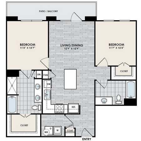 1,055 sq. ft. B4-2 floor plan