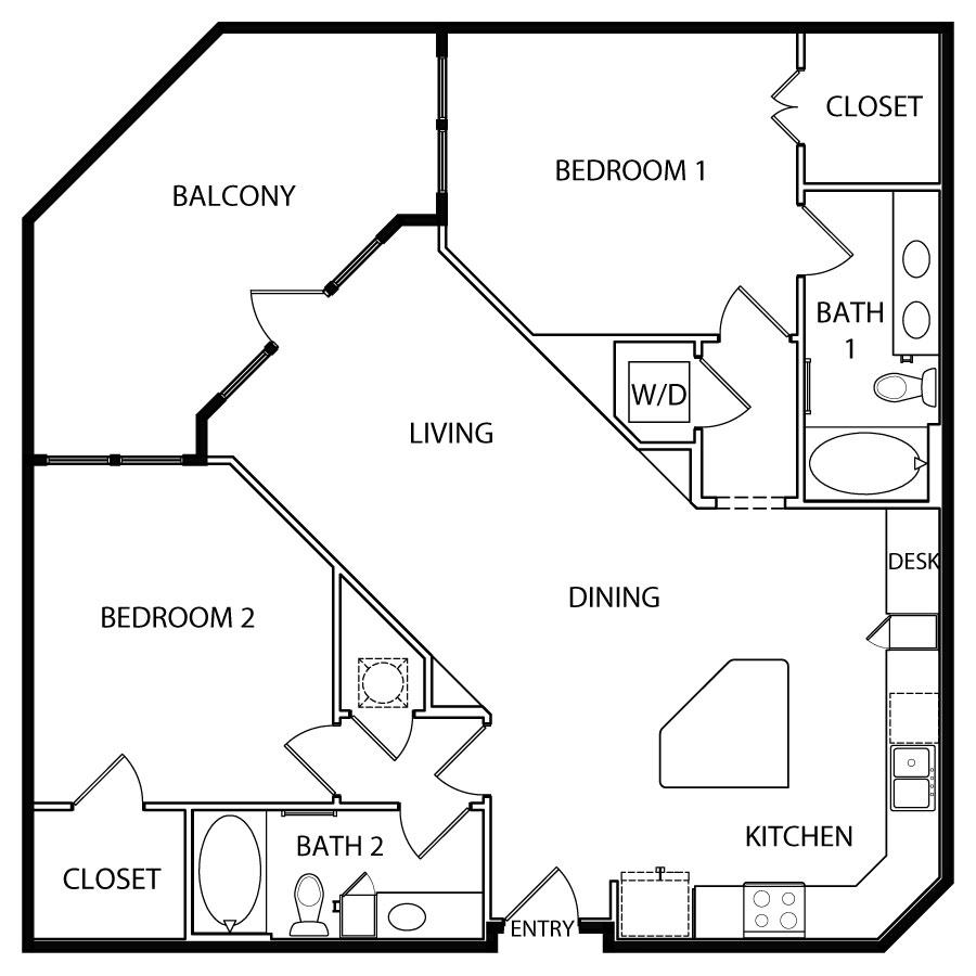 1,204 sq. ft. B4 floor plan