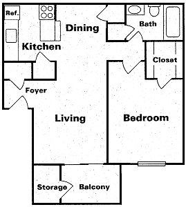 656 sq. ft. Taa2 floor plan