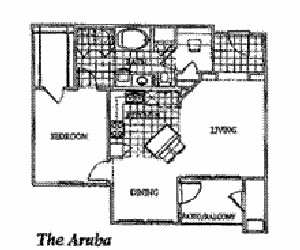 873 sq. ft. ARUBA floor plan