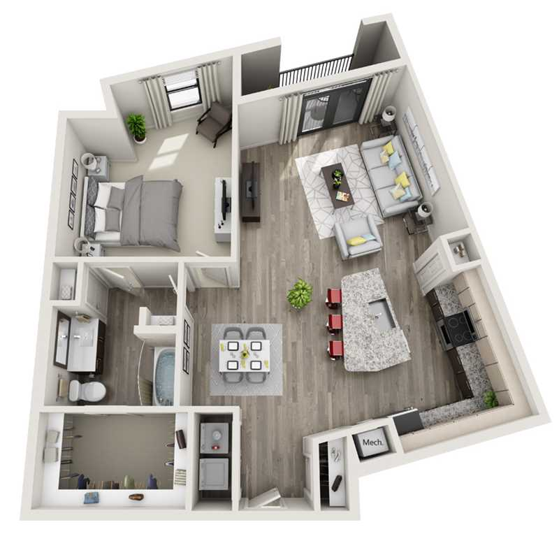 976 sq. ft. to 986 sq. ft. A7 floor plan
