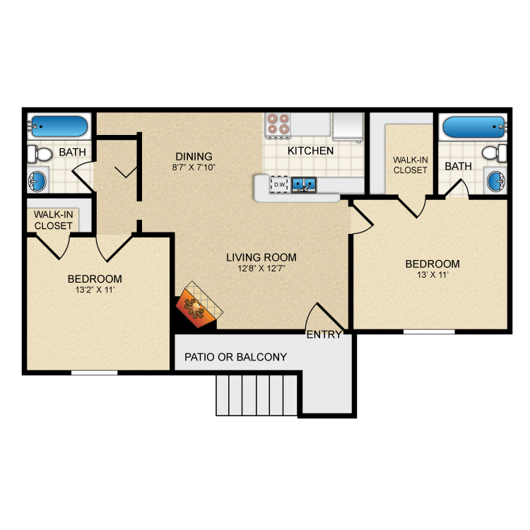830 sq. ft. B1 floor plan