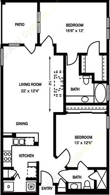 1,054 sq. ft. B1 floor plan