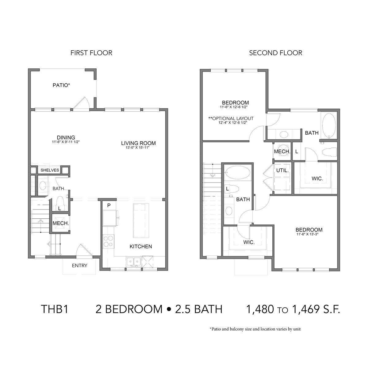 1,469 sq. ft. THB1 floor plan