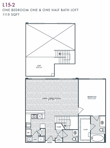1,115 sq. ft. L15-2 floor plan