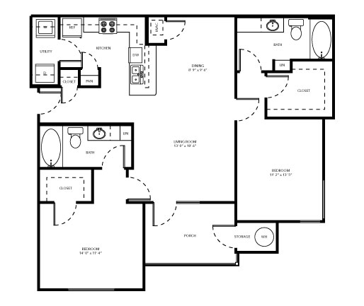 1,282 sq. ft. C1 floor plan