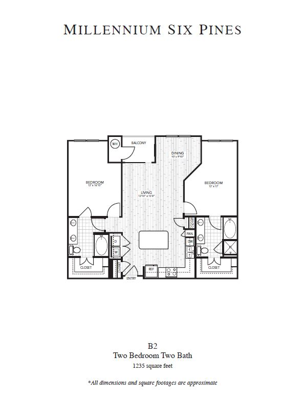 1,235 sq. ft. B2 floor plan