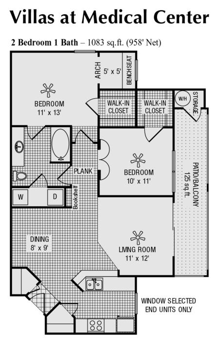 958 sq. ft. E floor plan