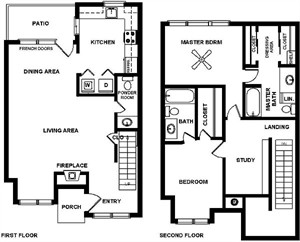 1,305 sq. ft. E floor plan