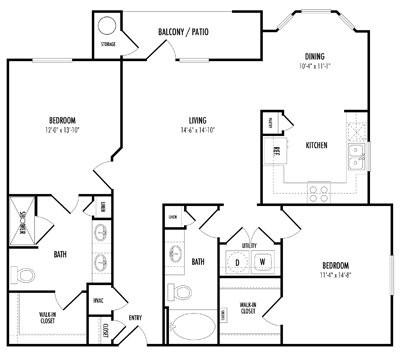 1,186 sq. ft. C2 floor plan