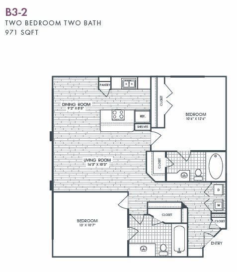 971 sq. ft. B3-2 floor plan