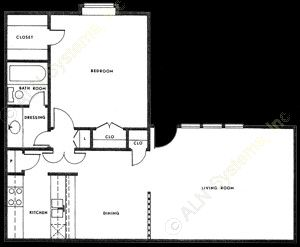 724 sq. ft. A-2 floor plan