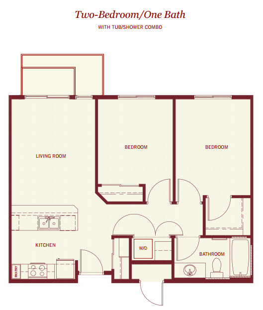 794 sq. ft. to 822 sq. ft. floor plan