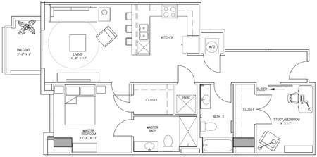1,029 sq. ft. P floor plan
