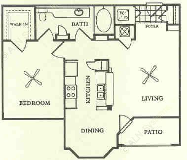 768 sq. ft. A2 floor plan