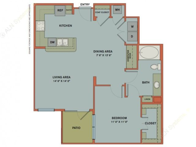 876 sq. ft. A12 floor plan