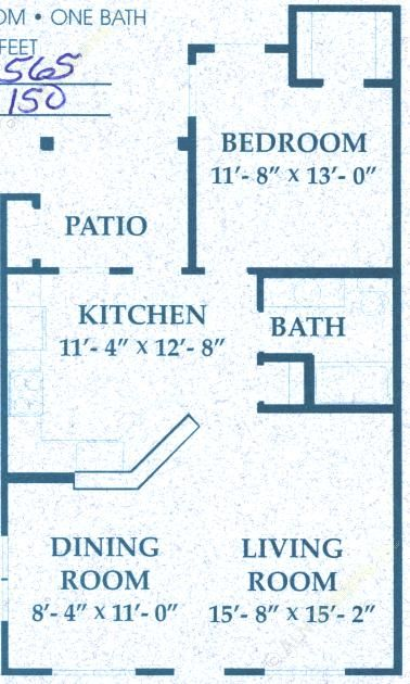 748 sq. ft. A2/50% floor plan