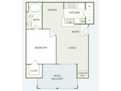 643 sq. ft. A1 floor plan
