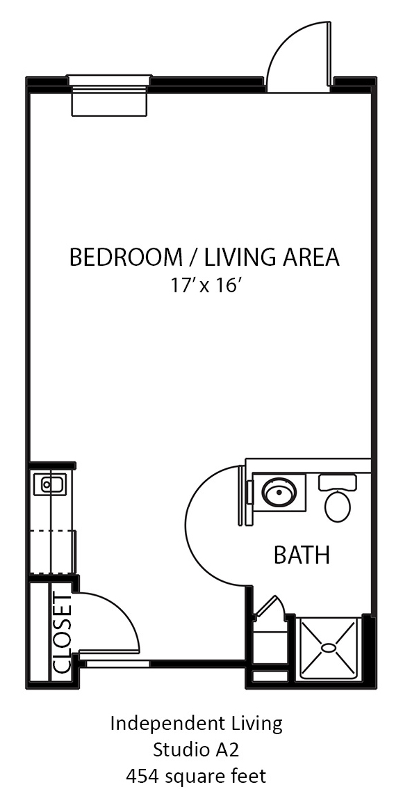 454 sq. ft. A2 floor plan