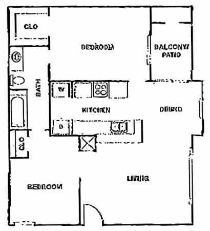 836 sq. ft. E floor plan