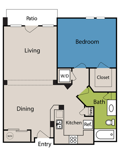 820 sq. ft. to 927 sq. ft. floor plan