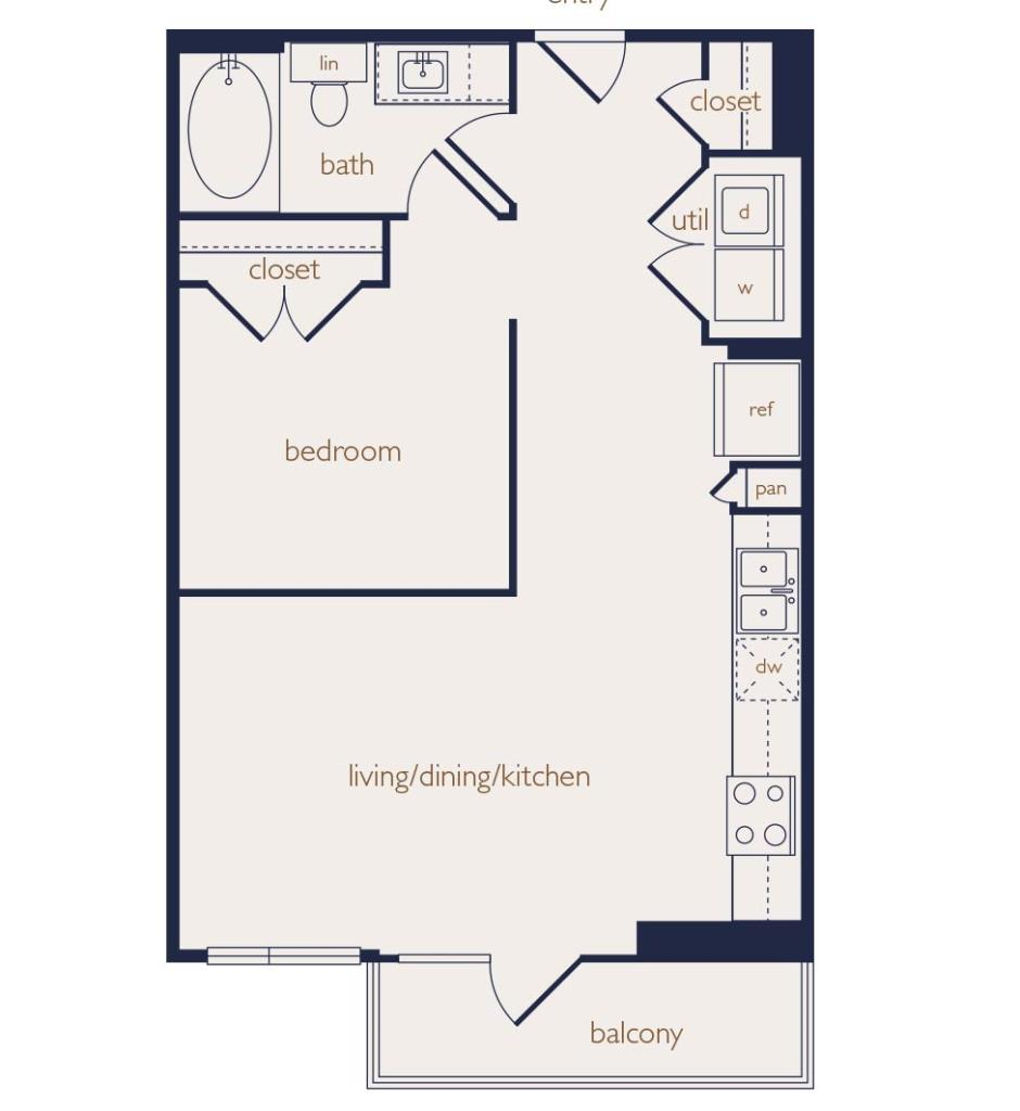 642 sq. ft. floor plan