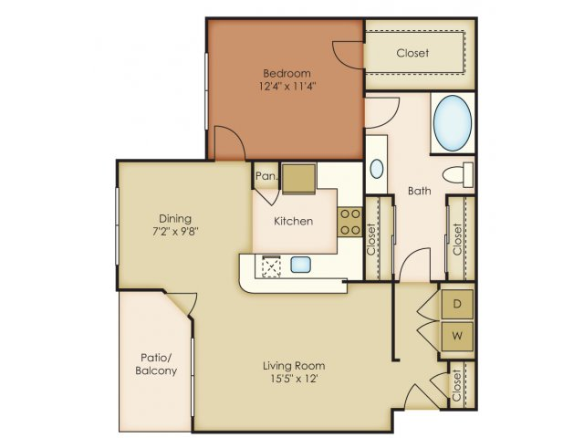817 sq. ft. A2 floor plan