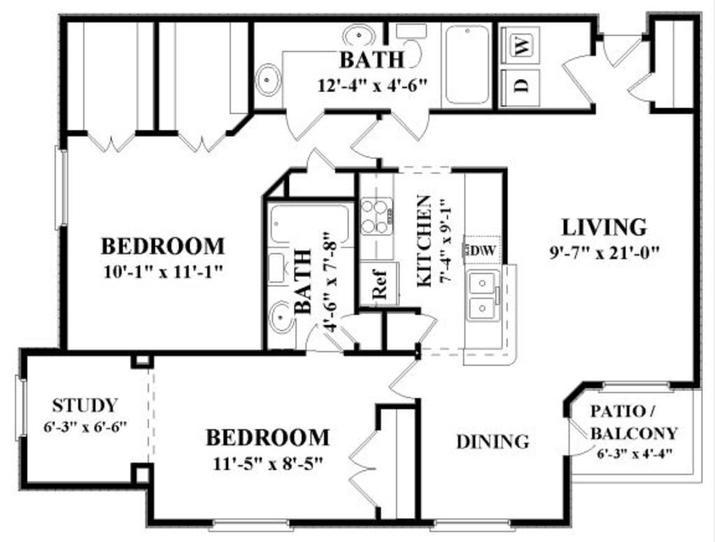 1,253 sq. ft. G floor plan