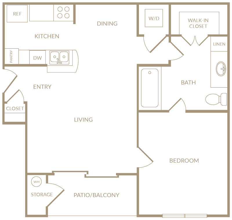 658 sq. ft. to 707 sq. ft. A2 floor plan