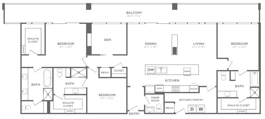 2,531 sq. ft. PH7 floor plan