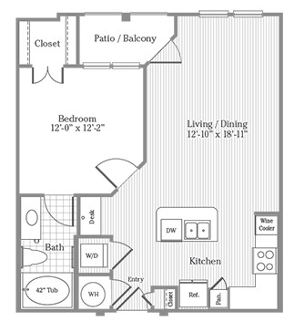 706 sq. ft. A2 floor plan