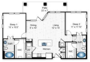 1,070 sq. ft. B1 floor plan