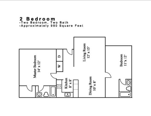980 sq. ft. 2.2 floor plan