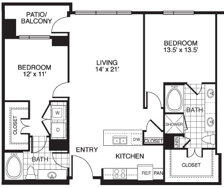 1,299 sq. ft. Charming/Tower floor plan