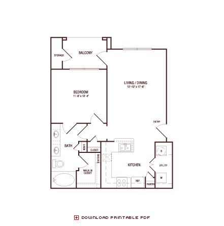 713 sq. ft. Monterrey Oak floor plan