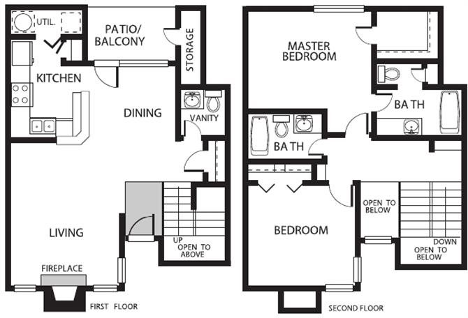 1,182 sq. ft. THU floor plan