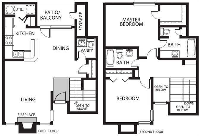 1,182 sq. ft. THU floor plan