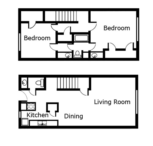 1,177 sq. ft. B4 floor plan