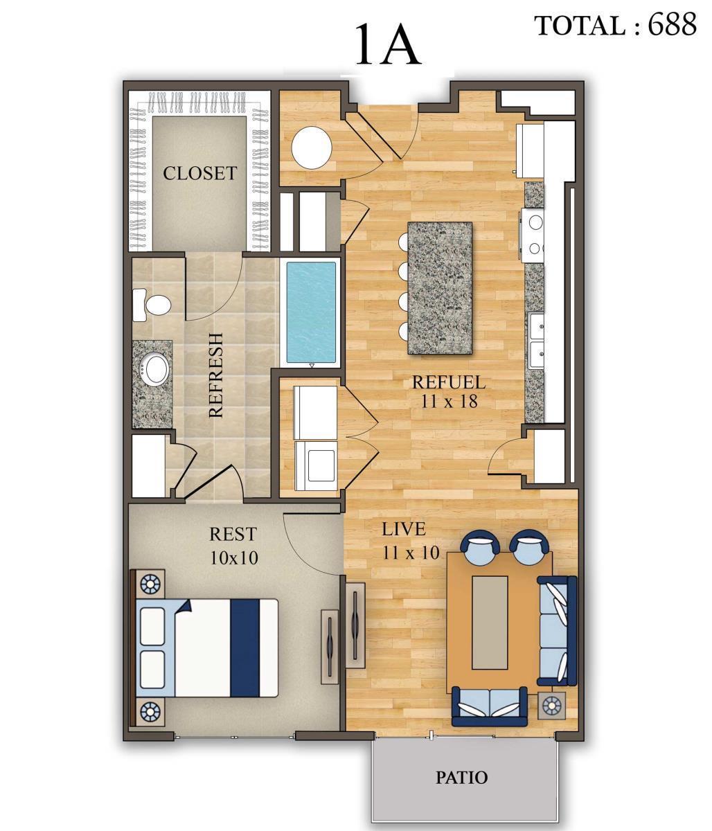 688 sq. ft. 1A floor plan