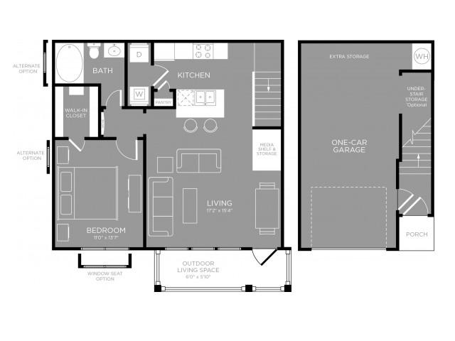 788 sq. ft. Jasmine floor plan